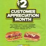 Subway $2 Customer Appreciation Month